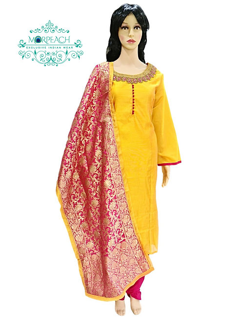 Yellow Straight Cut Dress (4XL)