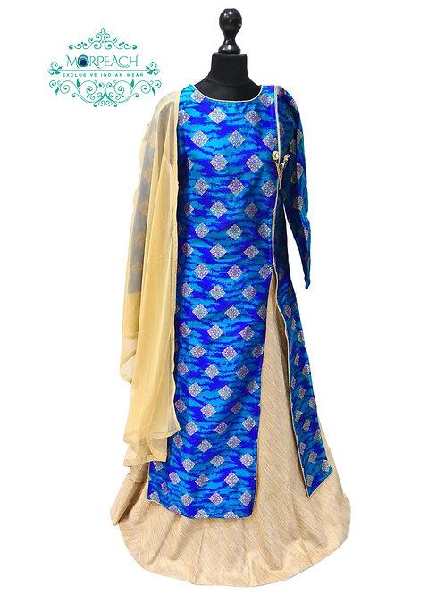 Blue Banarasi Long Top Dress (Reg)
