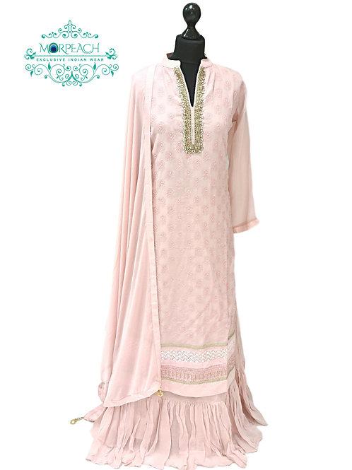Baby Pink Chiffon Gharara Set (3XL)