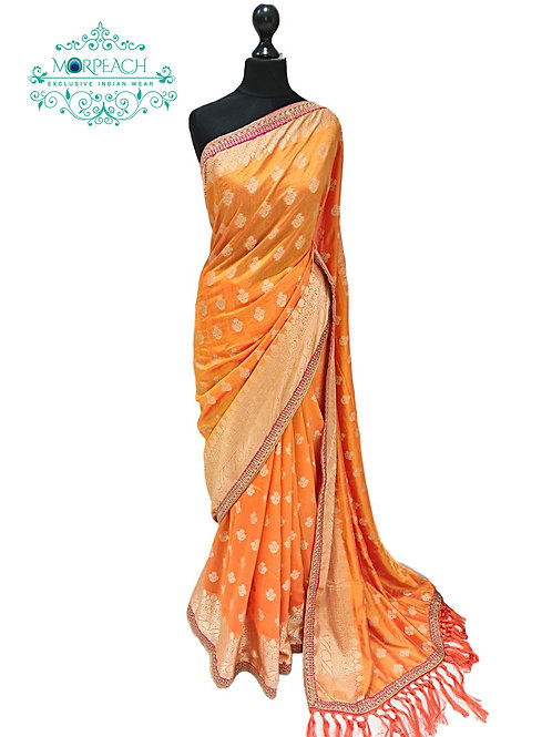Orange Gold Weaving Soft Silk Saree