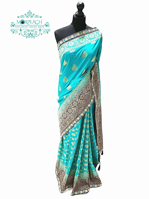 Turquoise Blue Silk Saree Half and Half