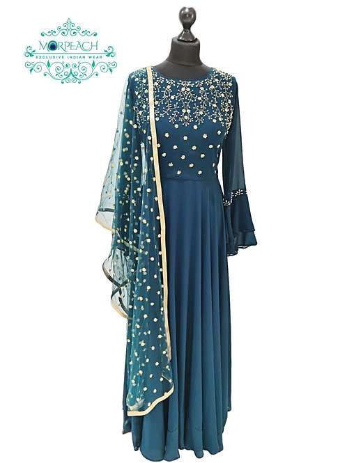 Green Beaded Long Bell Sleeved Gown