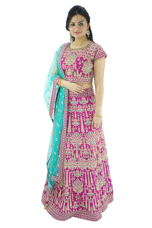 Magenta Fully Embroidered Lehenga (Reg)