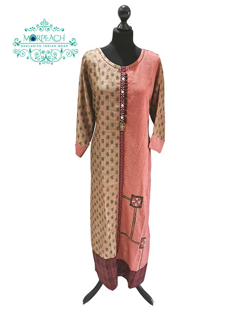 Brown Straight Long Kurti (5XL)