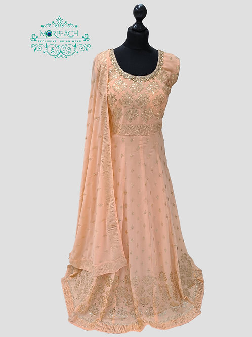 Pastel Peach Gold Embossed Sequence Dress (5XL)