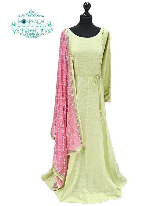 Light Green Flared Silk Dress (4XL)