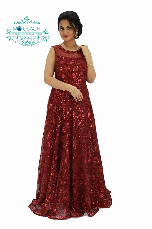 Maroon Red Sparkly Gown (R)