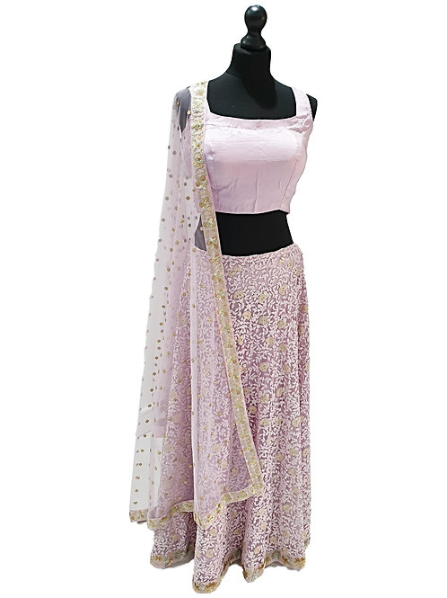 Lilac Net Lehenga