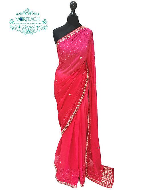 Red Pink Shaded Chiffon Saree