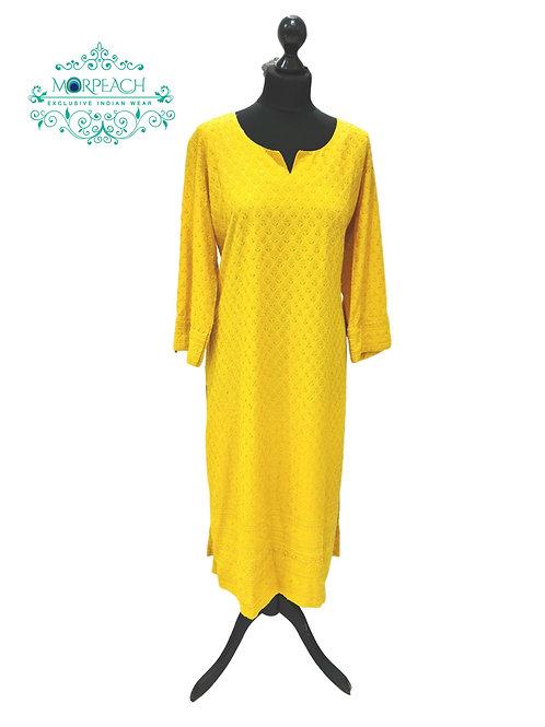 Bright Yellow Sequence Kurti (4XL)