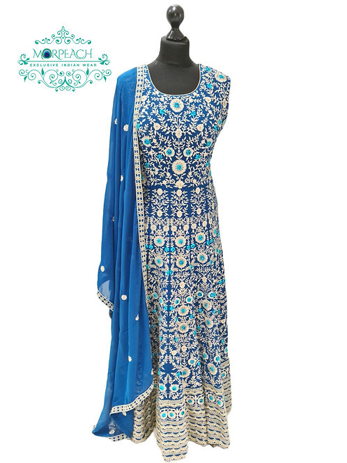 Blue Chiffon Heavy Embroidered Gown