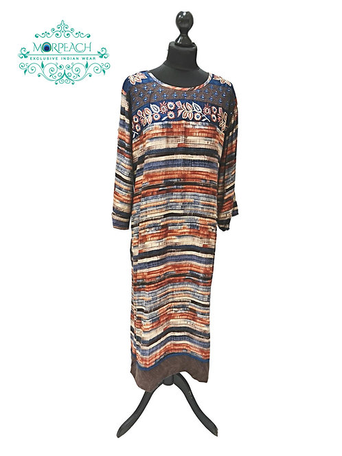 Brown Blue Straight Rayon Kurti