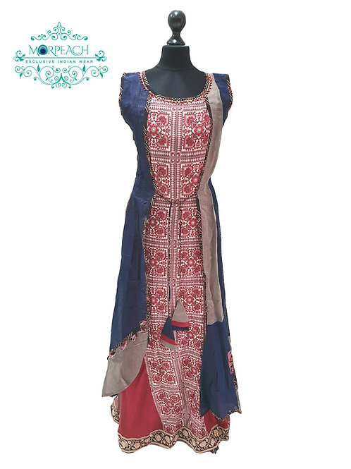 Blue And Red Attached Jacket Kurti (S)
