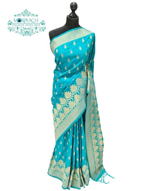 Bluish Green And Gold Silk Saree