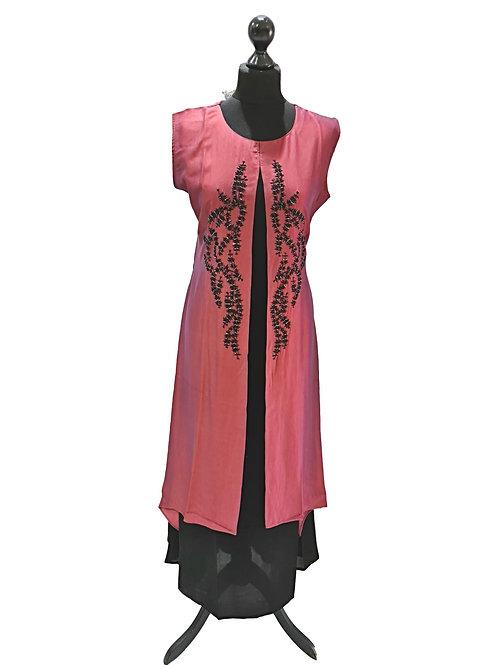 Shiny Brown Partywear Kurti (2XL)