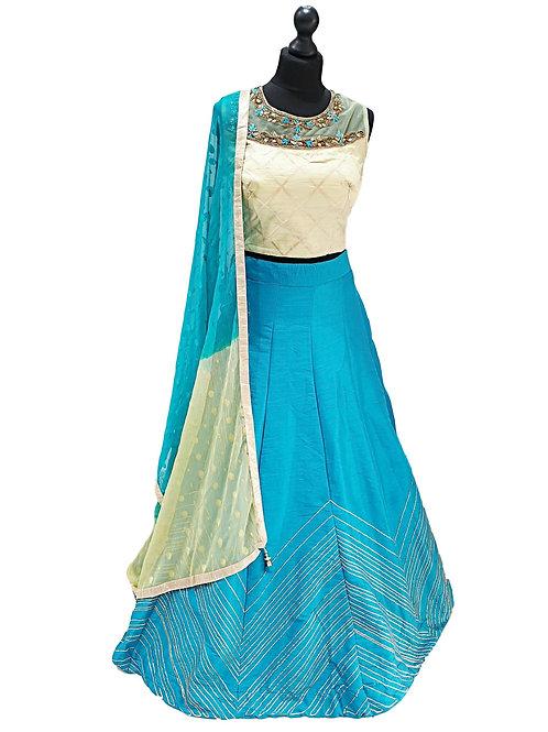 Turquoise And Green Silk Lehenga (Reg)