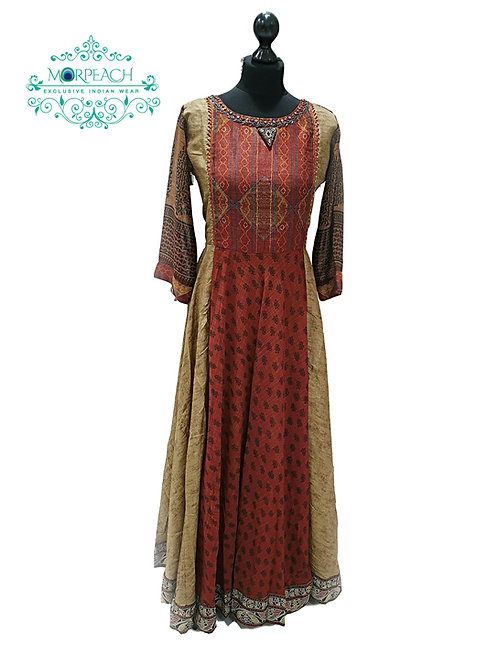 Brown Flared Chiffon Kurti (M)