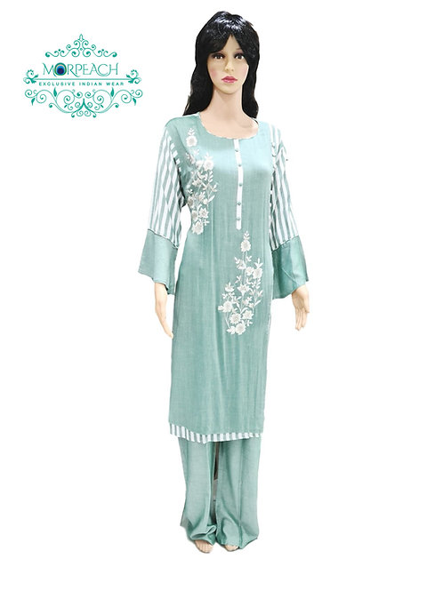 Light Green Cotton Kurti With Pants