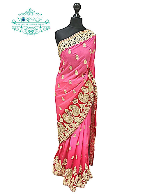 Pink Shaded Cutwork Saree