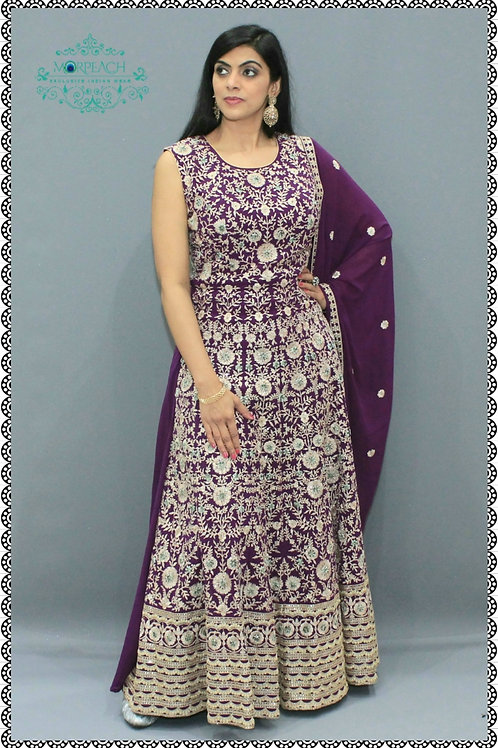 Purple Chiffon Heavy Embroidered Gown (R)