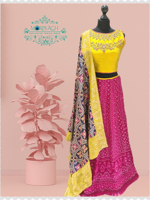 Pink & Yellow Sequence Lehenga (Reg)