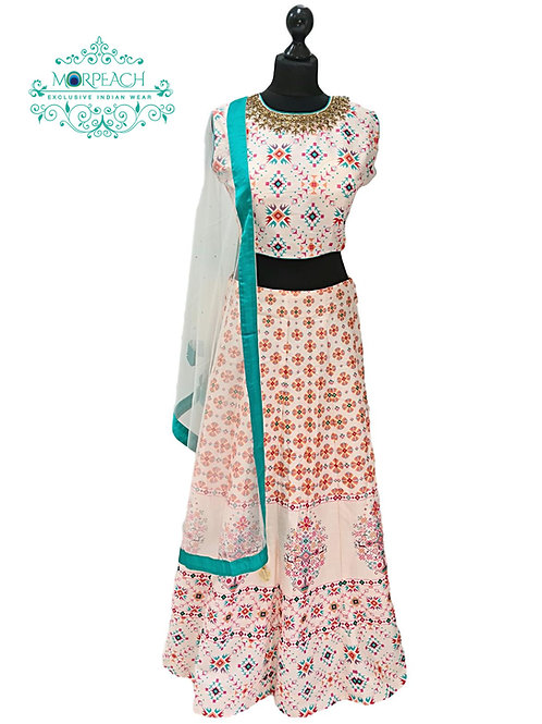 Turquoise Cream Digital Silk Lehenga