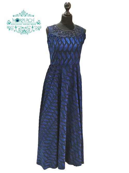 Dark Blue Partywear Velvet Gown (R)