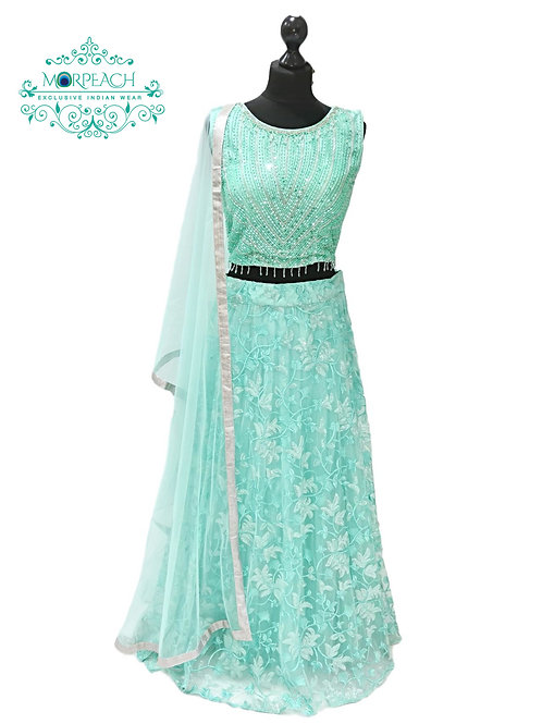 Sea Green Sequence Net Lehenga