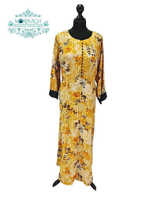Mustard Floral Rayon Kurti (6XL)