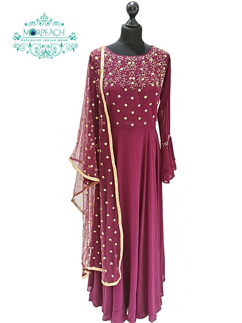 Maroon Beaded Long Bell Sleeved Gown
