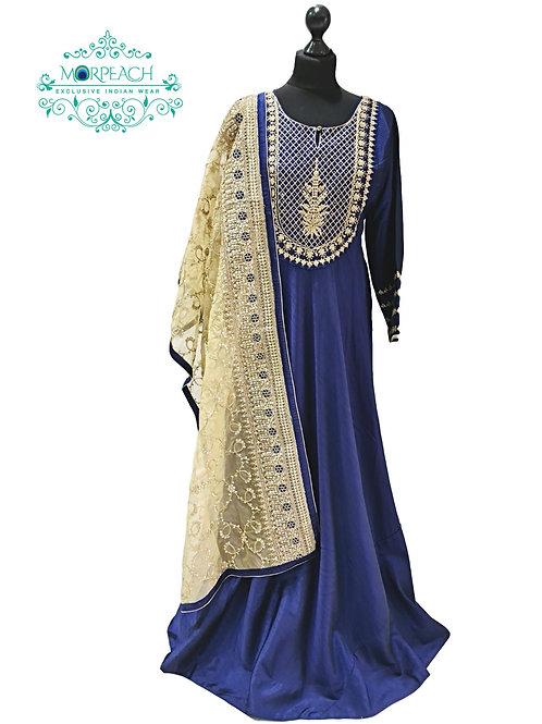 Blue A-Line Heavy Dupatta Dress (3XL)