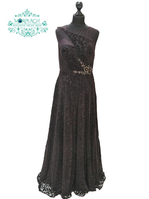 Brown Shimmer Net Velvet Gown (R)
