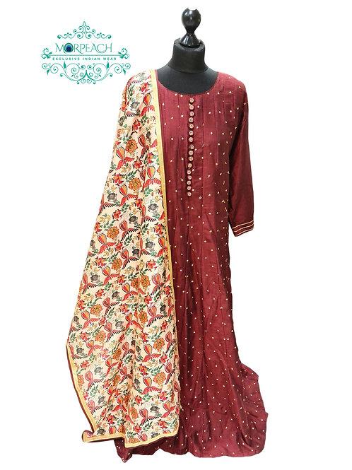 Brown Dress With Silk Dupatta (4XL)
