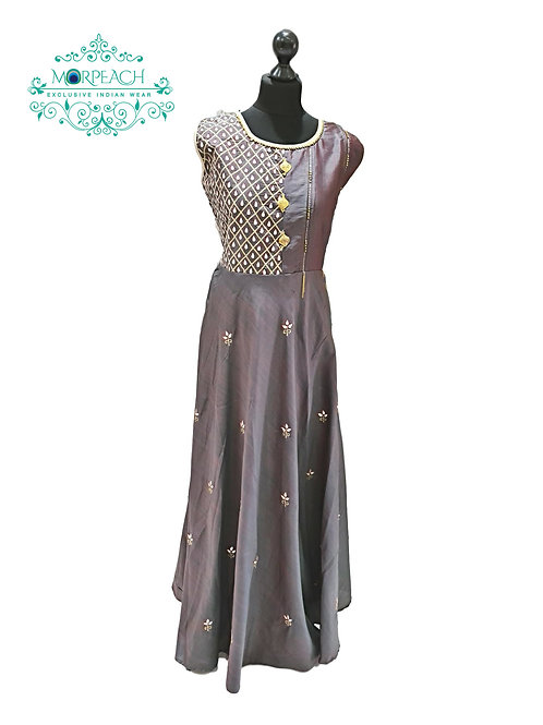 Grey Flared Silk Kurti