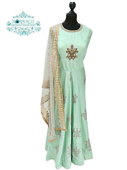 Mint Green Silk Dress With Heavy Dupatta (2XL)