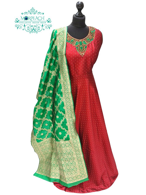 Maroon & Green Silk Dress (XL)
