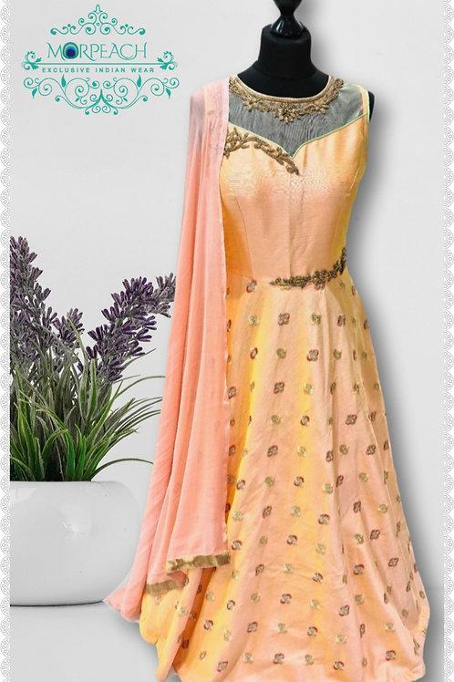 Peach Embroidered Silk Dress (Reg)