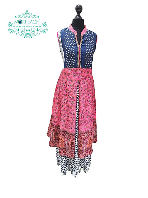 Pink Printed Layered Kurti (XL)