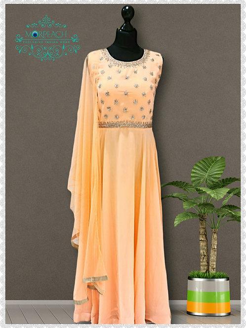 Peach Full Flared Georgette Dress (R)