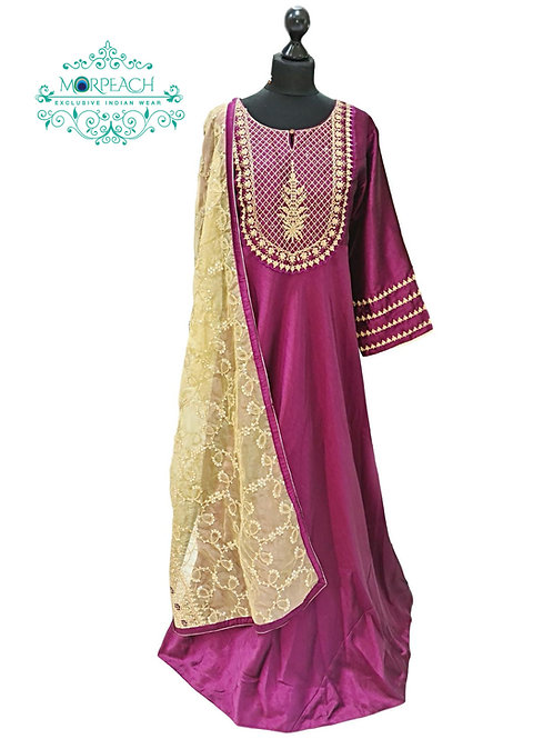 Purple A-Line Heavy Dupatta Dress (5XL)