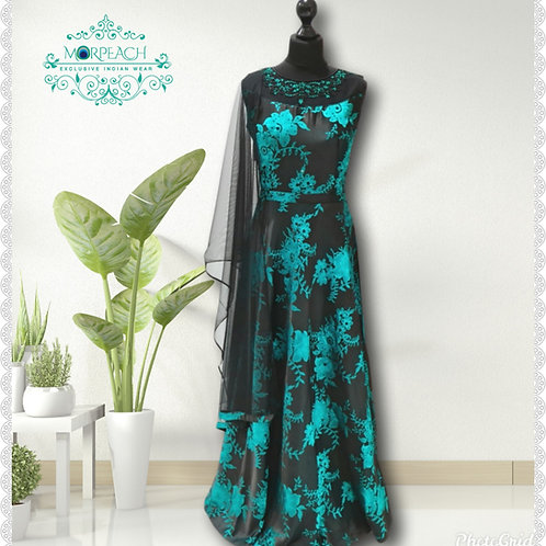 Black And Turquoise Silk Gown (R)