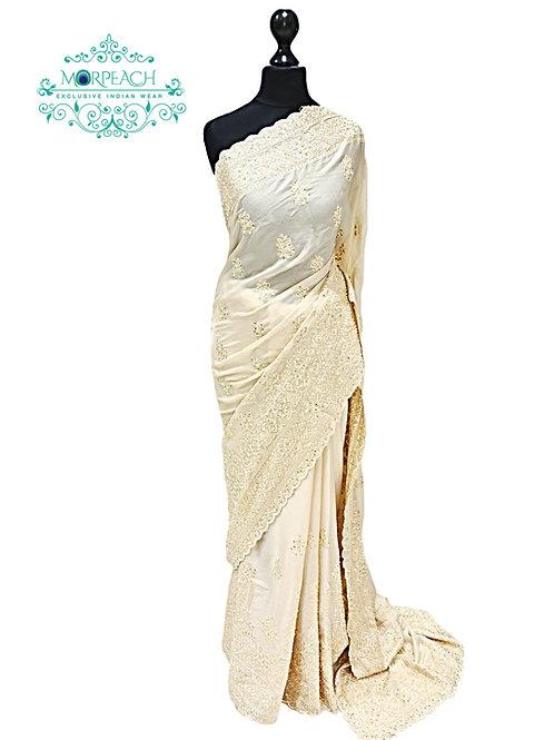 Gold Shimmer Pastel Chiffon Saree