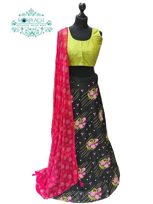 Black Embroidered Silk Lehenga (Reg)