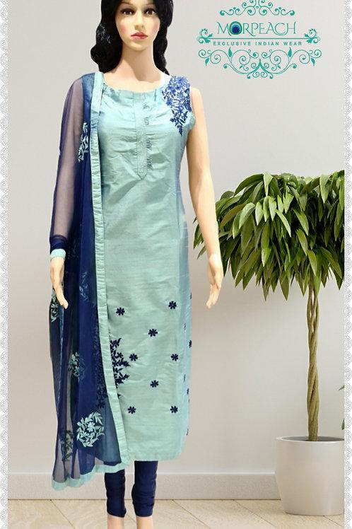 Blue Straight Cut Silk Dress (Reg)