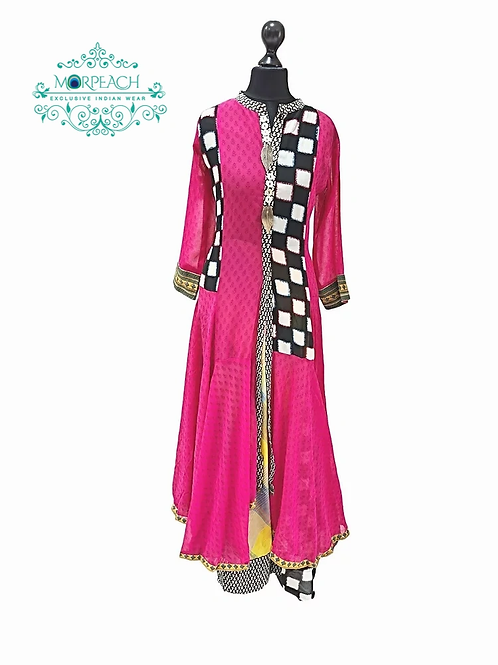 Pink Multi Patterned Kurti