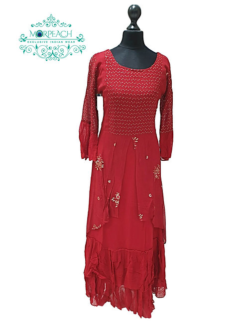 Dark Red Georgette Kurti