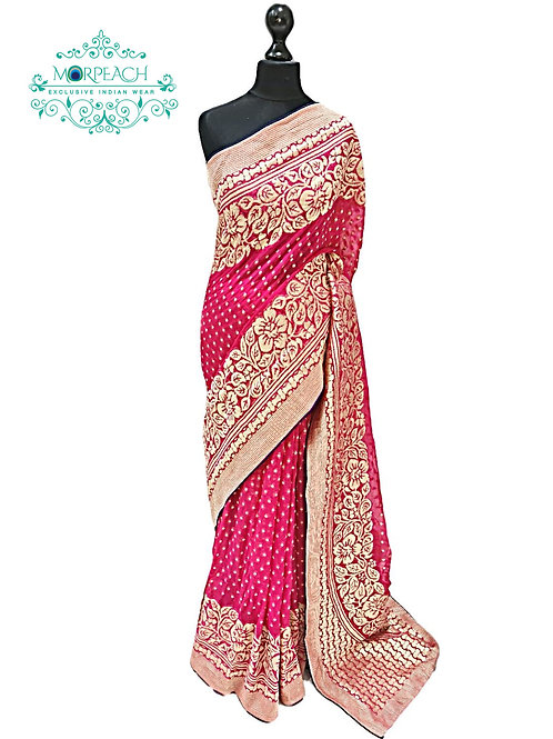 Pink Banarasi Pure Georgette Saree