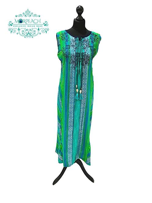 Green Blue Rayon Kurti (7XL)