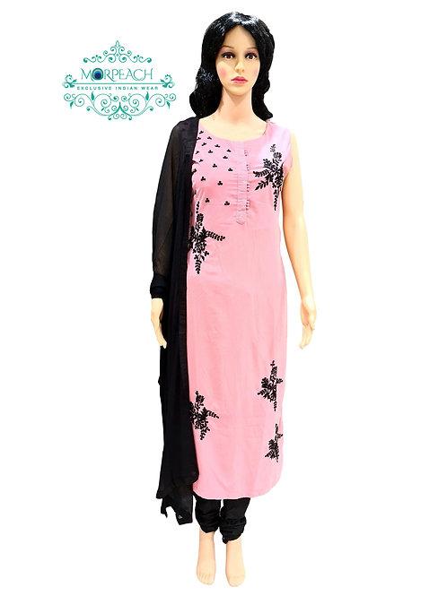 Dusty Pink And Black Straight Dress (Reg)