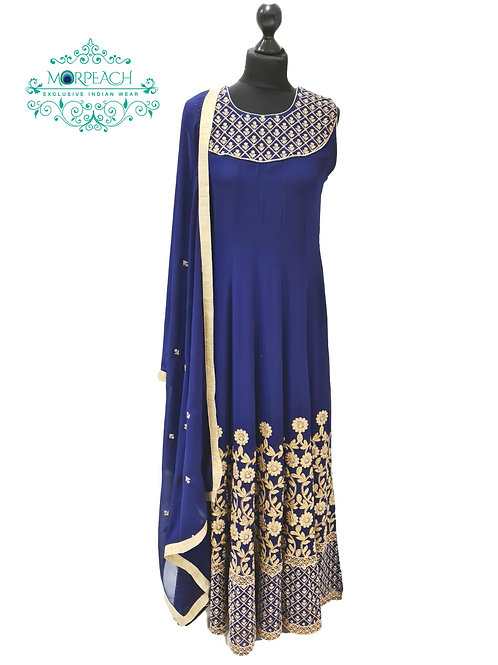 Blue Daman Work Chiffon Dress